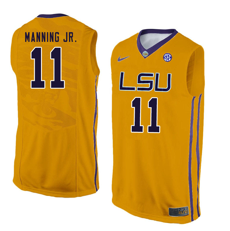 Men #11 Charles Manning Jr. LSU Tigers College Basketball Jersyes Sale-Yellow