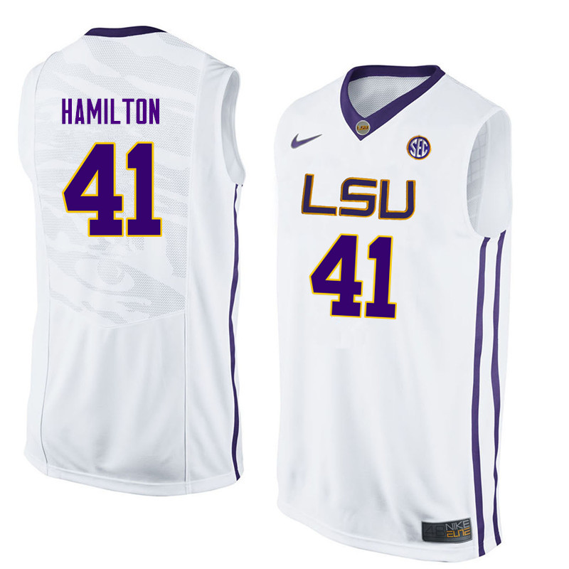 Men LSU Tigers #41 Justin Hamilton College Basketball Jerseys-White